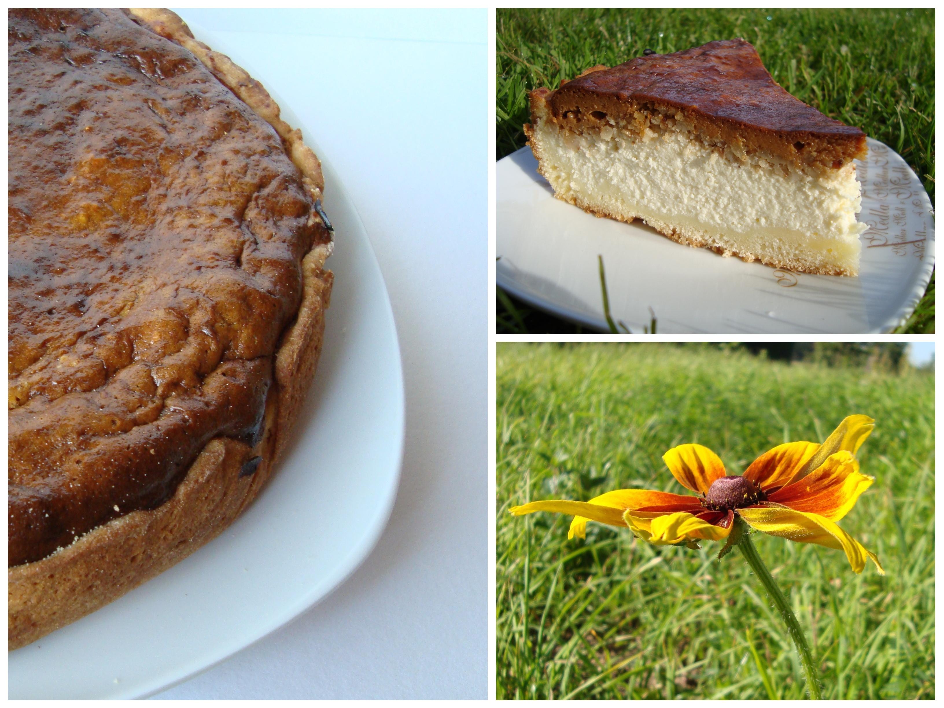 Karamelinis varškės ir riešutų pyragas